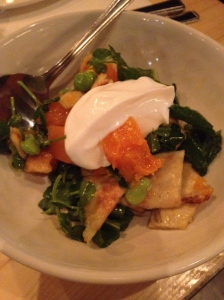 pumpkin, flatbread, broad bean, yogurt.