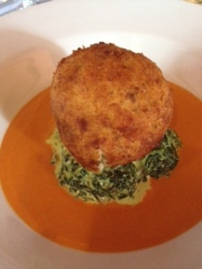 The fishcake. With the tomato sauce.