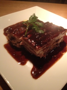 A plate of crunchy sticky pork belly gorgeousness