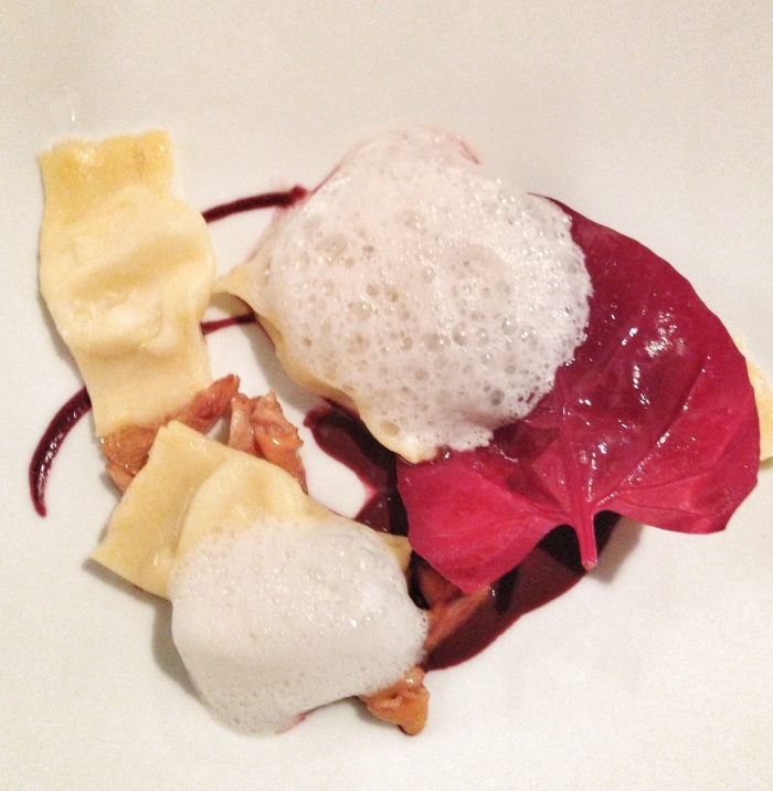 Ravioli, air foam and red orache