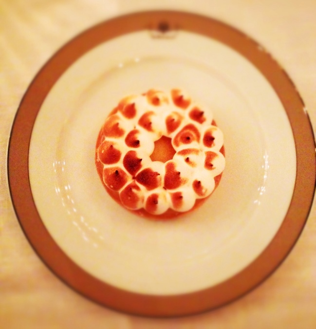 Lemon meringue tart. At least we won't get fat.