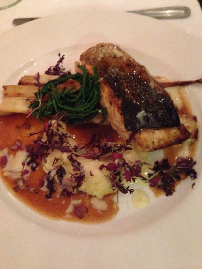 Sea Bass. With chicken jus. Not quite surf n'turf