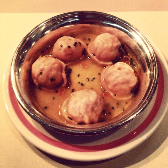 Pink dumplings. Salmon roe floaters.