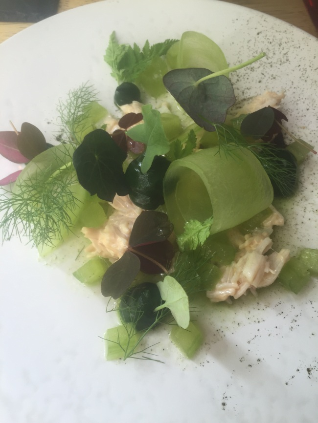 Crab and cucumber. Green.