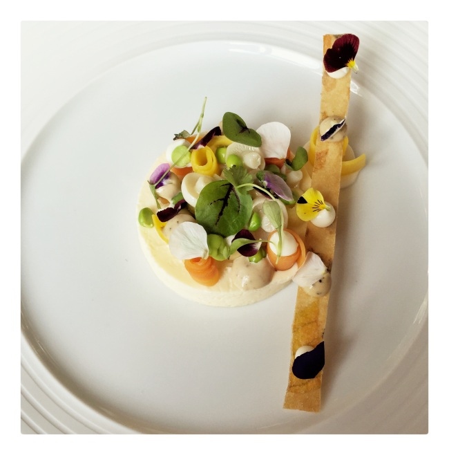 Parmesan royale with summer vegetables. And a parmesan stick.