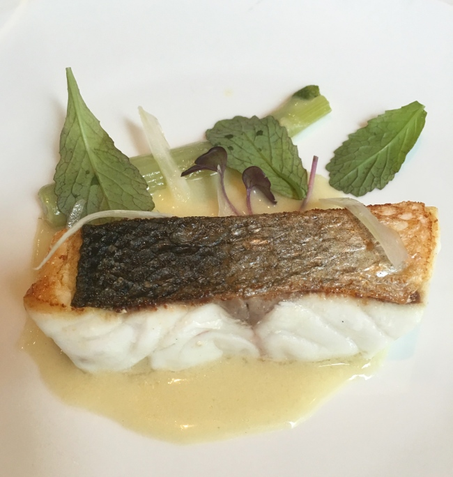 Seabass with green olive sauce and fennel both sous vide and confit